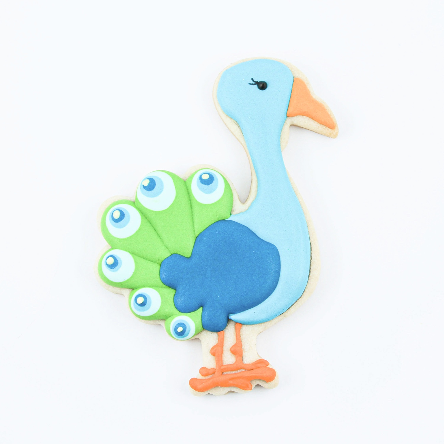 Peacock Royal Icing Cookie