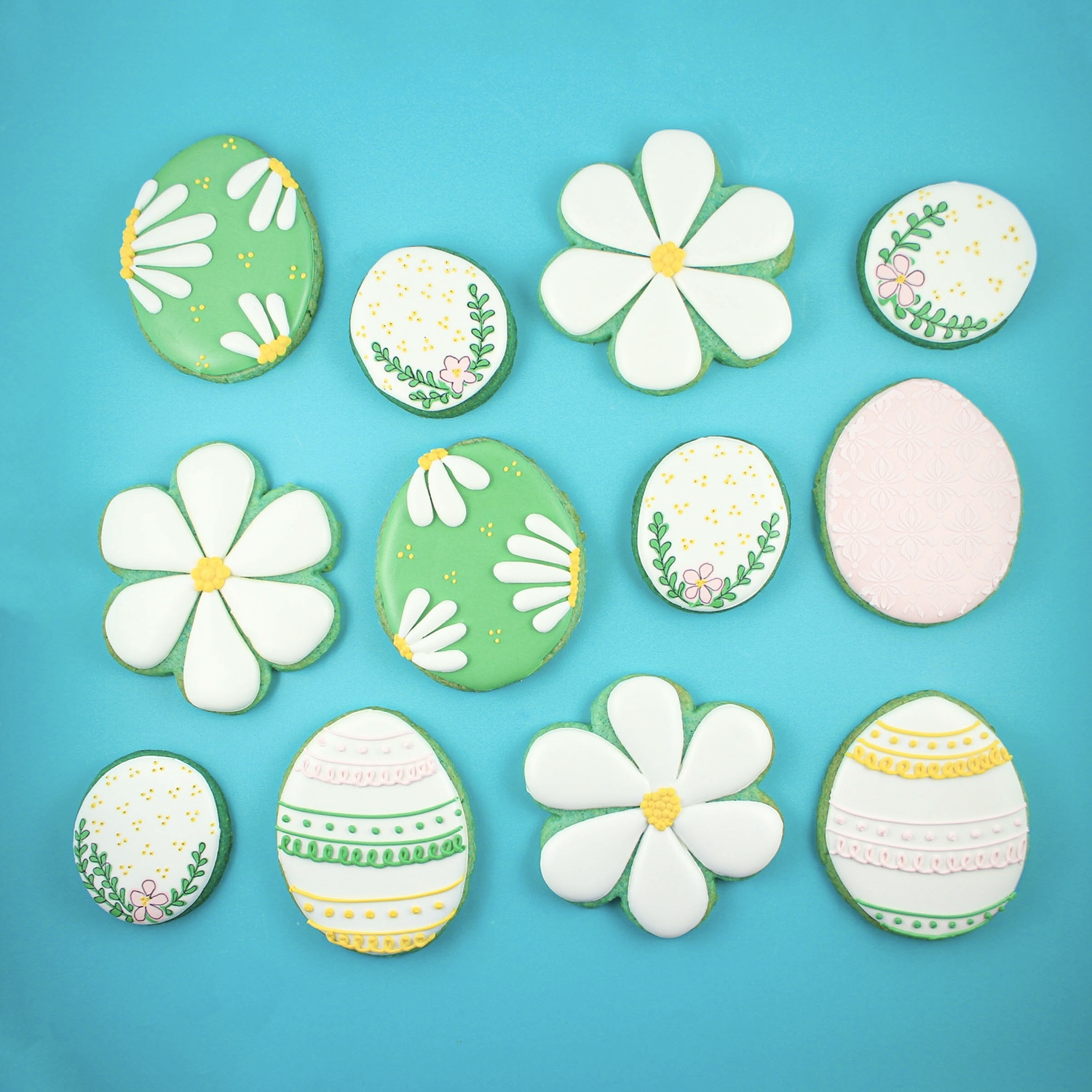 Blue Easter Royal Icing Cookies