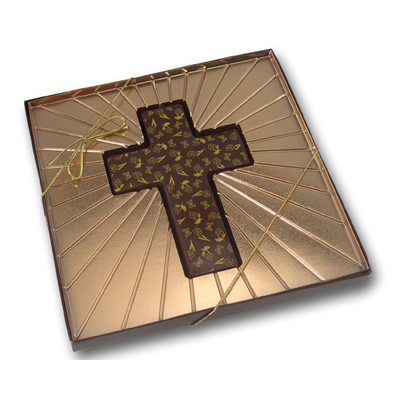 Chocolate Molded Cross with Designs