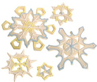 Blue and Yellow Snowflake Cookies