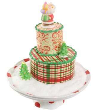 Red and Green Tiered Chocolate Cake