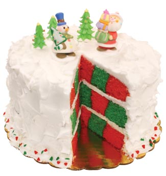 Red and Green Checkerboard Christmas Cake