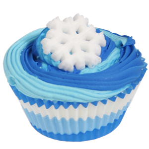 Blue Swirl Cupcake with Sugar Snowflake