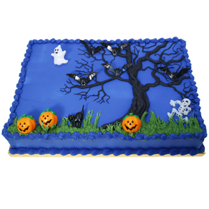 Midnight Blue Halloween Sheet Cake
