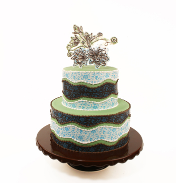 Blue and Green Chocolate Transfer Cake