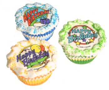 Happy Birthday Edible Image Cupcakes
