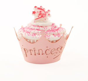 Pink Princess Cupcake with Wrapper