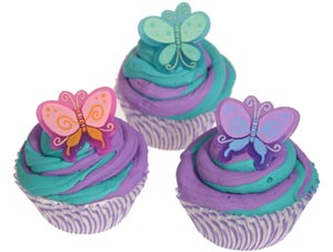 Purple and Green Butterfly Cupcakes
