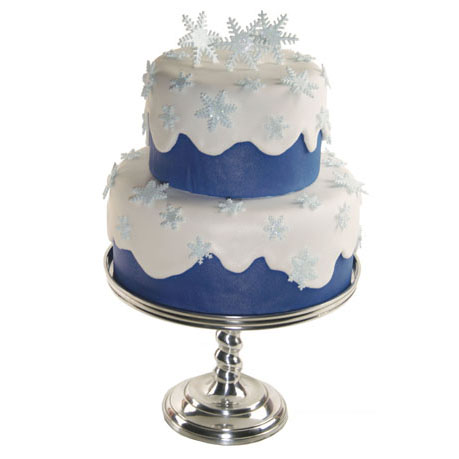 Shimmery Snowflake Tiered Cake