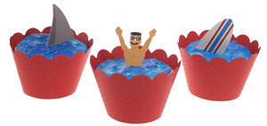 Shark and Lifeguard Cupcakes