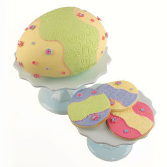 Whimsy Swirl 3D Easter Egg Cake and Cookies