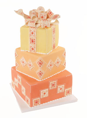 Marrakech Quilted Fondant Bow Cake