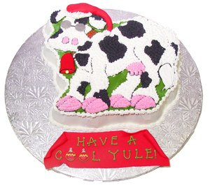 Cool Yule Christmas Cow Cake