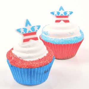 Red White and Blue Star Cupcakes