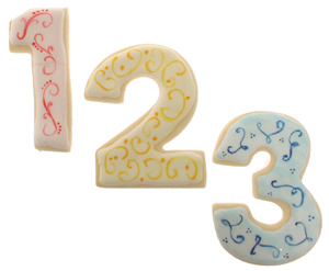 Painted Number Cookies