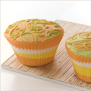 Orange and Green Paisley Cupcakes