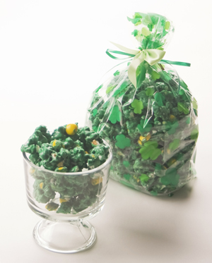 Green and Yellow Chocolate Popcorn