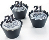 Black and Silver 21 Cupcakes