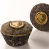 Black and Gold Elegant Heart Cupcakes